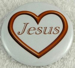 Gold open heart Jesus button