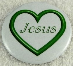 Dark green open heart button