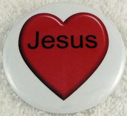 Big red heart Jesus button