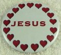 Red hearts Jesus Button