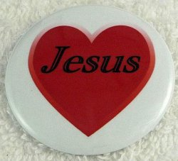 Red heart Jesus button