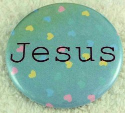 Multi-colored hearts Jesus button