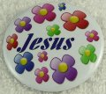 Jesus Crystal flower button