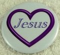 Purple open heart Jesus button