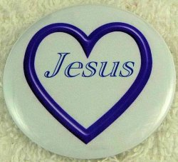 Dark blue open heart Jesus button