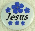 Blue flower Jesus button