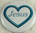 Light blue open heart Jesus button